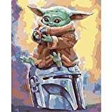 Paint by Numbers for Adults Yoda Star Wars Kits on Canvas Gifts for Kids Easy, DIY Painting by Number 16x20 inch Without Framed 3 Brushes and Acrylic Pigment Arts Craft for Home Wall Decor LSPBN