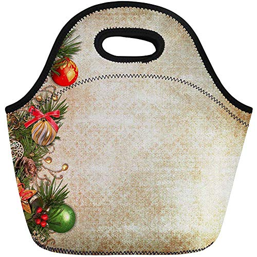 Neopren Lunchtasche,Beige Viktorianischen Vintage Weihnachten Grenze Antik Bälle Beeren Leere Reise/Büro Handtasche,Wiederverwendbare Picknick-Taschen,Tragbare Tragetasche