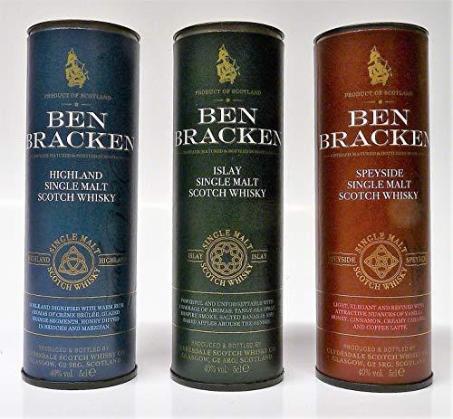 Ben Bracken MINIATUR SET - Single Malt Scotch Whisky 40% Vol. 3x 0,05L Islay/Highland/Speyside