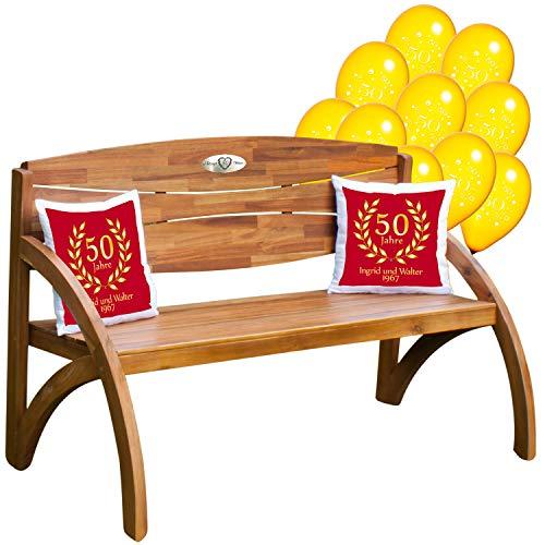 Gouden bruiloft - set: houten tuinbank met gepersonaliseerde gravureplaat, luchtballonnen en twee kussens cadeauset - persoonlijke geschenken voor gouden bruiloft Kissen - Rot