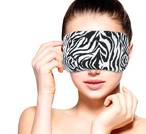 Heated Microwavable Eye Mask by FOMI Care | Lavender Scented, Reusable, Compress for Migraines, Dry Eyes, Headaches, and Sinus Relief | Soothing Moist Heat Wrap (Zebra)