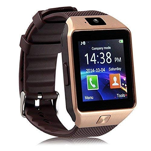 EZone Bluetooth Touch Screen Smart Wrist Watch HD Screen Phone with Camera, Fitness, Pedometer, Sleep Monitor (Gold)