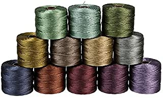 Set of 12 Super-Lon (S-Lon) #18 Bead Cord by The Beadsmith - Ideal for Beading, Micro-Macrame, Jewelry, and Kumihimo Projects - Forest Mix