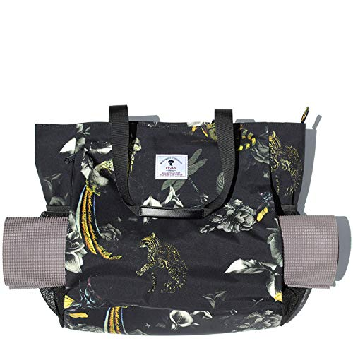 ESVAN Yoga Mat Bag Yoga Tote Carrier Shoulder Bag Carryall Tote for Office,Yoga,Pilates,Travel,Beach and Gym (Black Tropical Rain Forest)