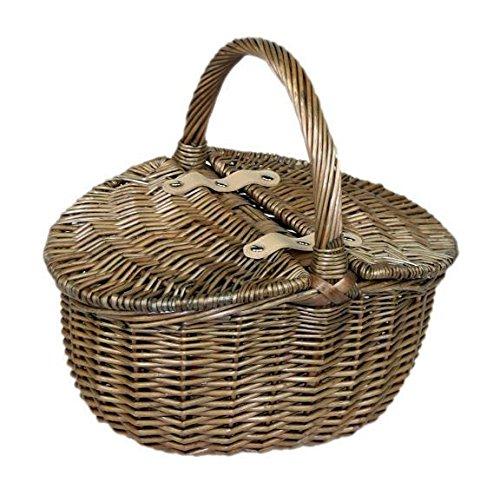 Kleine Antique Wash Doppeldeckel Oval Picknickkorb