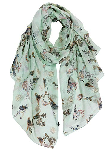 GERINLY Lightweight Scarf with Bird Print Voile Head Scarf Tree Branches Neck Wraps Feminine Spring Shawl (Pale Green)