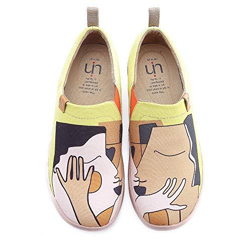 UIN Damen Kiss Canvas Paar Loafer Schuhe Gelb (41)