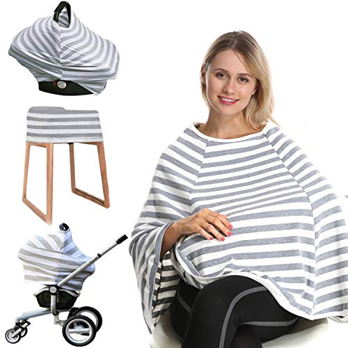 Car Seat Nursing Breastfeeding Cover, 360° Full Privacy Breast Feeding Cover Up Nursing Poncho, Thick Soft Stretchy Carseat Canopy Cover, Stroller Cover for Infant Babies, Convertible Multi Use 6 in 1