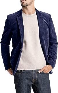 Mens Corduroy Blazer Slim Fit Vintage Sport Coat One Button Casual Notch Lapel Solid Suits Jacket