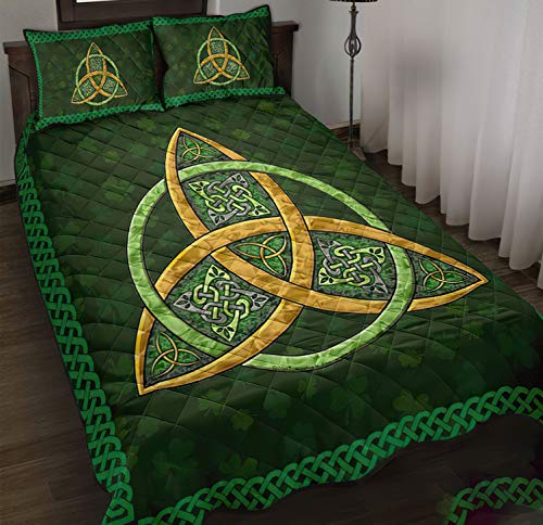 Irish Celtic Symbol The Trinity Knot A Celtic Symbol of Love Quilt Bedding Set 3 Pieces Quilt Cover with Pillowcase Cover Soft Comfortable for Kids Parents Us Twin Queen King Size