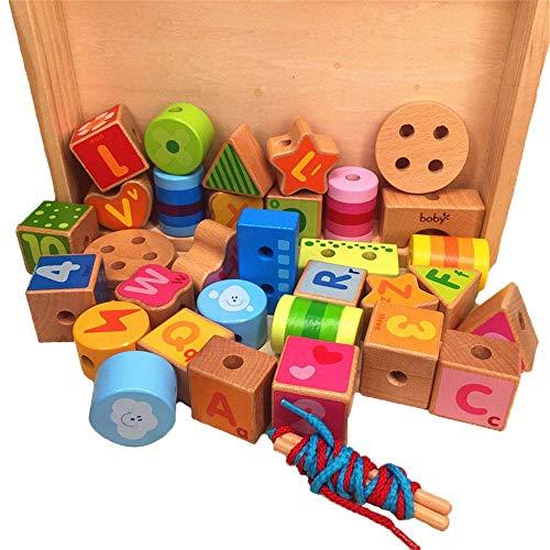 QINGJIA Bloques de construcción de niños Bloques de cordones de cordones grandes para niños, inclinación de cuentas para niños pequeños Cuerda educativa de juguete, letras de madera grandes, juguete e