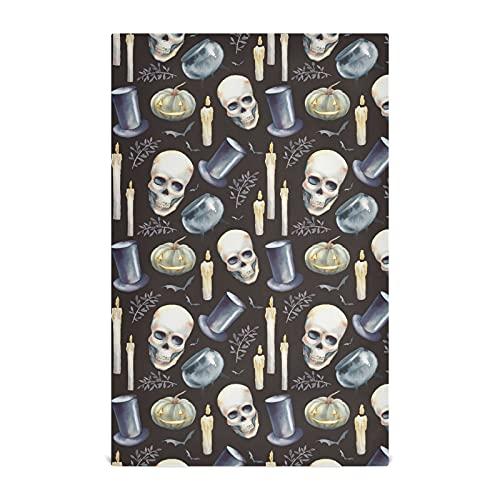 Dallonan Juego de 4 toallas de cocina de terror Halloween cráneo y calabaza poliéster suave absorbente paños decorativos para cocina toallas de mano, toalla de plato, paños de té, 60 x 45 cm