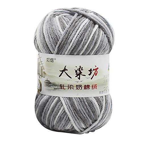 Wuayi Pelote de laine en acrylique pour bébé douce et naturelle, pour crochet, tricot, 50 g, Coton, G, Taille unique