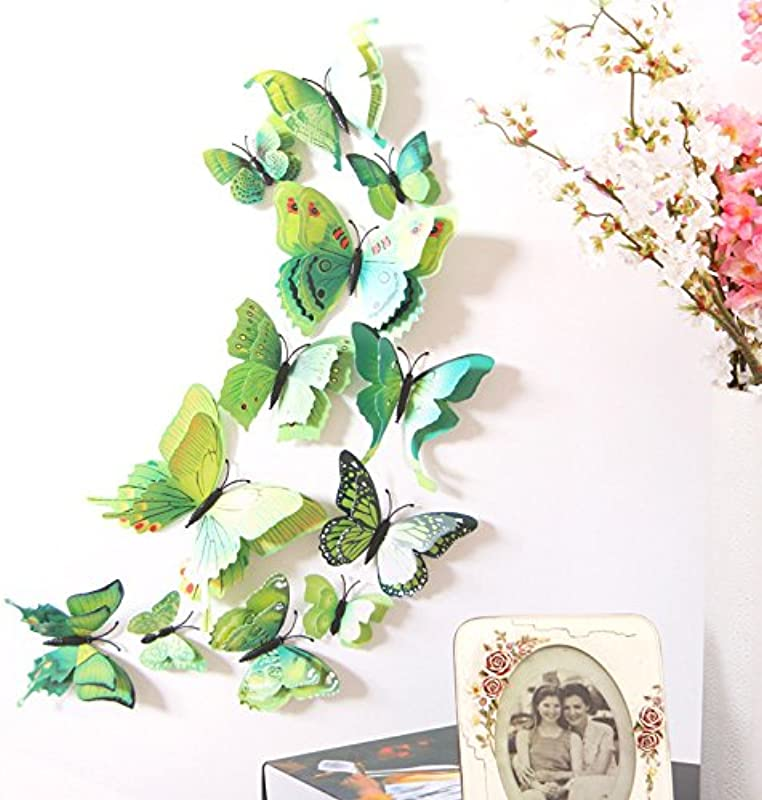 LiveGallery 24 Pcs Removable Cute Double Deck Beautiful 3D Butterfly Wall Art Decor Decal Home Decorations Stickers Nursery Room Decals Bedroom Living Room Windows Decorations DIY Art Green