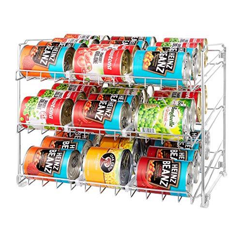 BAXO Dosenregal Organizer – Lebensmittelaufbewahrung Küchenorganizer – Chrom-Finish – Premium-Qualität – schwerer Stahl mit modernem Design