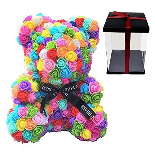 Osito rosa con cinta, decoración artificial de la flor del oso rosa –Oso de flores de 40 cm con caja de regalo transparente para el día de San Valentín, aniversario, cumpleaños y despedidas de soltera