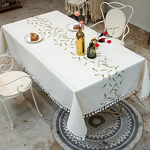 Bordado Hojas Mantel de Lino Decorativo con Borla Impermeable a Prueba de Aceite Grueso Rectangular Boda Comedor Mantel de té H 140x220cm