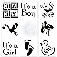 TA BEST ベビーシャワー ベビー クッキー カップケーキステンシル 8個セット 女の子用 男の子 赤ちゃん 馬車 足跡 フラミンゴ アヒル柄 半透明
