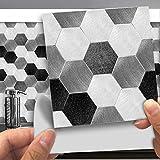 Hiser 25 Stück Küchenrückwand Fliesenaufkleber, 3D Eisen Metall Stil Wasserdicht Ölfest Stickerfliesen Marmor Deko Selbstklebende für Badezimmer Wohnzimmer Dekoration (Dunkelgrau,15 x 15 cm)