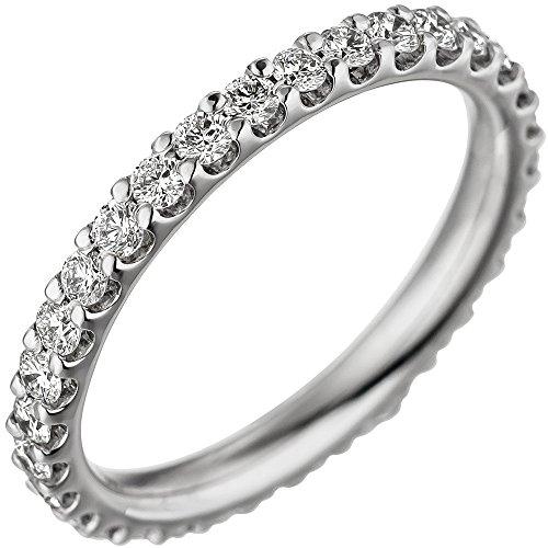 JOBO Damen Memory Ring 585 Gold Weißgold mit Diamanten Brillanten Memoryring Memoire Größe 56