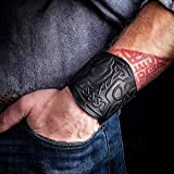 Mjolnir Black Leather Viking Bracelet Fathers Day Dad Gift for Men - Mens Leather Cuff Bracelets Wristbands - Genuine Leather Punk Lv Axe Сuffs Wristband - Viking Thor`s Hammer - Size 6-7 inches