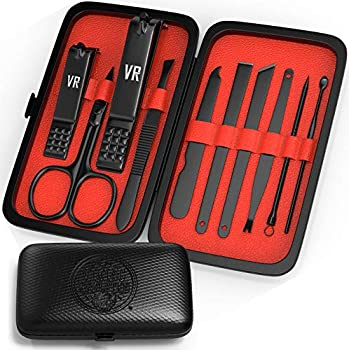 Viking Revolution Manicure Set for Men - Mens Nail Care Kit with Nail Clippers for Professional Grooming - Pedicure and Manicure Travel Kit for Men