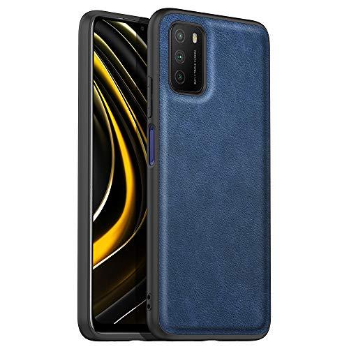none-branded Avalri Funda Xiaomi Poco M3, Funda de Cuero Suave de TPU, Cómoda de sostener, Resistente a rayones y Huellas Dactilares, Compatible con Xiaomi Poco M3 (Azul)
