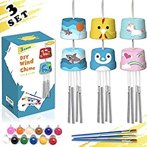 🎁【MORE IN PACKAGE】 This wind chime kits include 3 sets of DIY chime materials, each set sonsist by a pair of wooden pots, 4 chime rods, 1 thick cord for pots link, 1 thin cord and 1 board which are used for chime rods link. There are also 12 paints w...