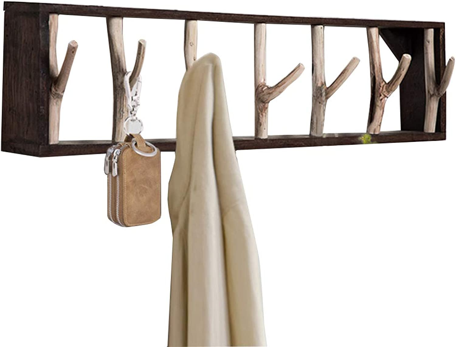 LAXF-Coat Hanger Stand Hangers Coat Rack Bamboo Clothes Hook Dorm Room Bedroom on The Wall Wall-Mounted Hook Hanger Multifunction The Shape of Tree Branches Brown