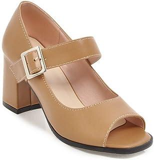 BalaMasa Womens APL11835 Pu Block Heels
