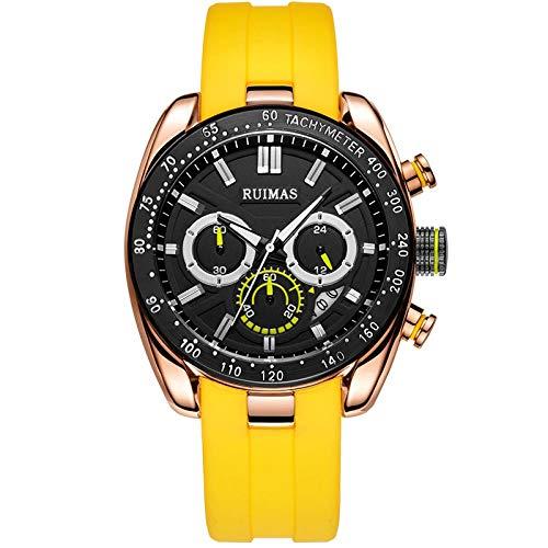 Armbanduhr,Sportmode Herrenuhr Multifunktionskalender Silikonarmband Quarzuhr, Gelber Gürtel