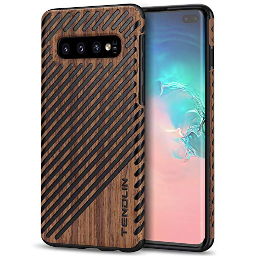 TENDLIN Galaxy S10 Plus Case Wood Grain Design and Flexible TPU Silicone Hybrid Slim Case Compatible with Samsung Galaxy S10+ (Wood & Leather)