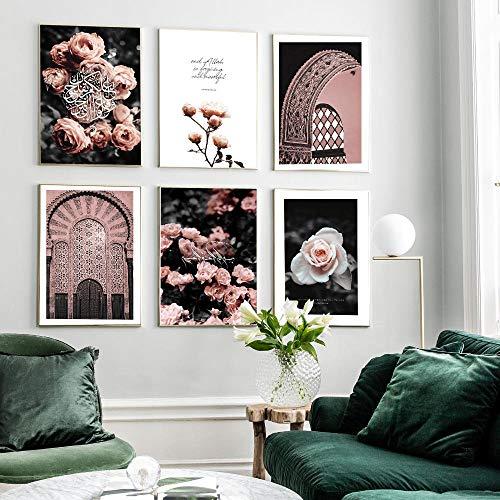 FA LEMON Allah Islamische Wandkunst Leinwand Poster Tor Muslim Druck Bilder Malerei Moderne Moschee Decor-21x30cmx6 stücke kein Rahmen