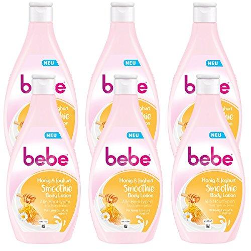 bebe Honig & Joghurt Smoothie Body Lotion - Feuchtigkeitsspendende Hautpflege mit fruchtigem Duft für alle Hauttypen geeignet - 6 x 400ml