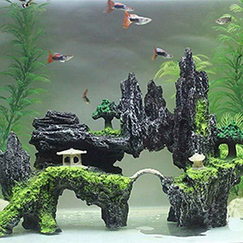 Guooe Aquarium Deko, Harz Steingarten Stein Aquarium Landschaftsbau Aquarium Dekoration Steingarten Berg Versteckt Höhle Heimtierbedarf