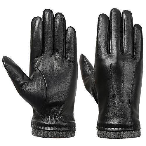 Acdyion Herren Winter Touchscreen Lederhandschuhe Lammfell Touchscreen Handschuhe Winter Herren Warm Outdoor 100% Echtes Leder und Fleece-Futter (Large)