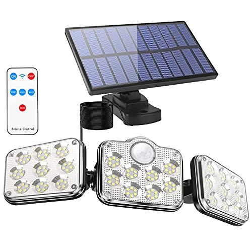 La Càmb Muse Luces LED Solares para Exteriores Luz con Sensor de Movimiento Lampara Aplique Pared Exterior Iluminacion Mando a Distancia 3 Cabezas 138 LEDs IP65 Impermeable Sol Luz de Inundación