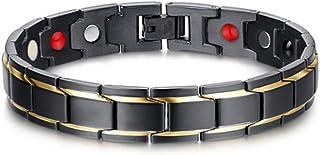 Herren Magnetarmband, CNNIK Titanstahl Magnetfeldtherapie Armband mit 4 starken Magneten,..