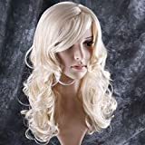 BERON 24' Stylish Long Curly Blonde Hair Wig Party Perruque (Blonde)