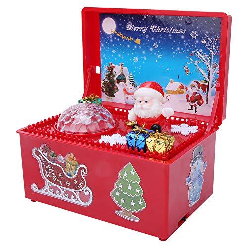 Ichiias Carillon Luce Di Natale Elettrica Carillon Luminoso Decorazioni Ornamenti Regalo Giocattolo Per Bambini(Rosso)