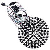 CHINLY 93 Leds 6 anillos WS2812B WS2812 5050 RGB LED Anillo Lámpara de luz individual Direccionable Full Dream Color DC5V