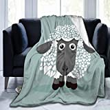 Delerain Cute Black Sheep Soft Throw Blanket 40'x50' Lightweight Flannel Fleece Blanket for Couch Bed Sofa Travelling Camping for Kids Adults