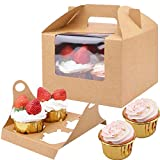 20 Cajas para Cupcakes,Cajas para Regalo con Insertar ventana y manija,Muffin Cupcake Boxes Para 4 cupcake,Accesorio para Repostería, para cumpleaños Boda Fiesta Comunion Navidad Año Nuevo,Marrón