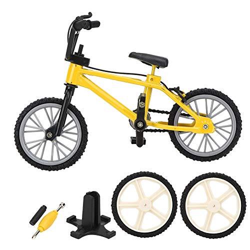 VGEBY Mini Modelo de Bicicleta de montaña, Juguete de Carreras para niños, Montaje Desmontable, aleación, plástico, 1/10, Accesorios de casa de muñecas, decoración de Mesa (Amarillo)