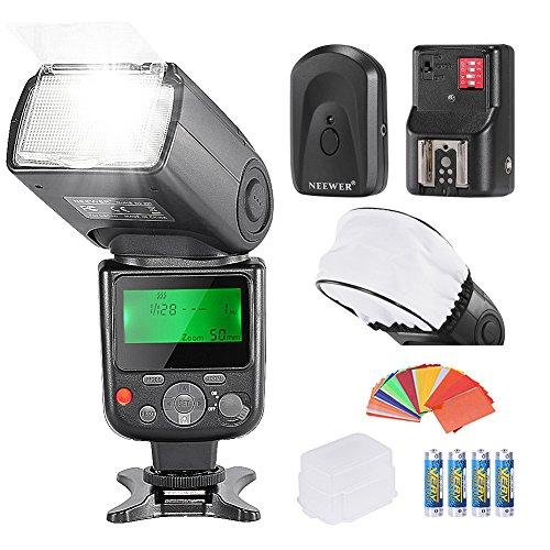 Kit de flash Pro NW670 E-TTL de Neewer® para cámaras Canon DSLR Rebel T5i, T4i, T3i, T3, T2i, T1i, XSi, XTi, SL1, EOS, 700D, 650D, 600D, 1100D, 550D, 500D, 450D, 400D, 100D, 300D, 60D, 70D, y cámaras compactas Canon EOS M. Incluye: 1 flash NW670 ETTL para Canon, 1 tapa de difusión para rebote de flash, 35 filtros de gel de colores, 1 difusor de flash, 1 control remoto inalámbrico de 16 canales y 4 pilas LR