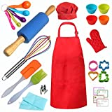 Kids Real Baking Set 42 Pieces include Apron, Chef Hat, Oven Mitt, Rolling Pin, Cookie Cut...