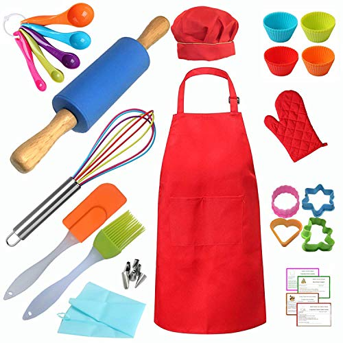 Kids Real Baking Set 42 Pieces include Apron, Chef Hat, Oven Mitt, Rolling Pin, Cookie Cutter and other Real Baking tools