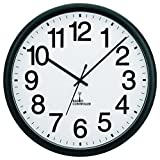 Tempus TC7001RC Commercial Atomic Wall Clock with Frame and Radio Controlled Movement, 13-1/2', Black