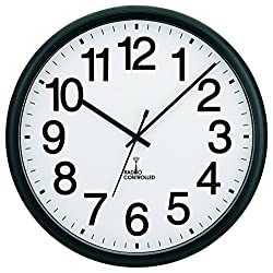 Tempus TC7001RC Commercial Atomic Wall Clock with Frame and Radio Controlled Movement, 13-1/2, Black