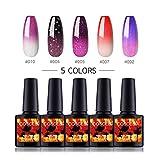 Saint-Acior 5 Farben Thermo Nagellack Gellack UV Farben Thermolack Gelnägel Farblacken LED Lacken